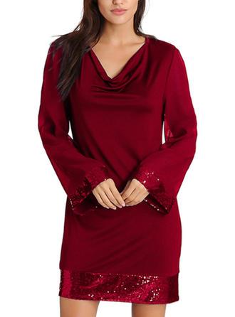 Paillettes/Couleur Unie Manches Longues Moulante Au-dessus Du Genou Petites Robes Noires/Fête/Élégante Robes