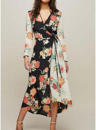 Print Floral V-neck Asymmetrical Shift Dress