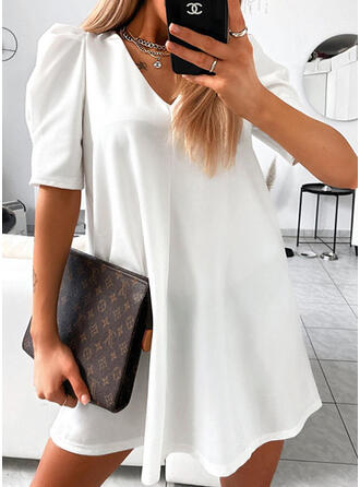 Solid 1/2 Sleeves/Puff Sleeves Shift Above Knee Little Black/Casual Dresses
