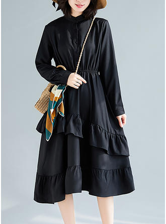 Couleur Unie Manches Longues Trapèze Midi Petites Robes Noires/Décontractée/Élégante Robes