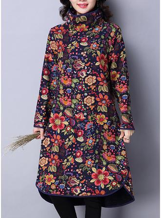 Wydrukować Kwiatowy Zabudowany Dekolt Kolano Długość Sukienkę przesunąć