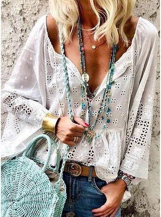 Solid Lace V-Neck Flare Sleeve Long Sleeves Casual Blouses