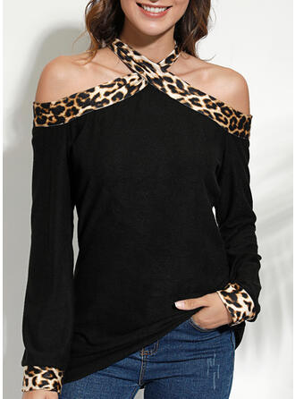 Leopard Cold Shoulder Long Sleeves Casual Sexy Knit Blouses