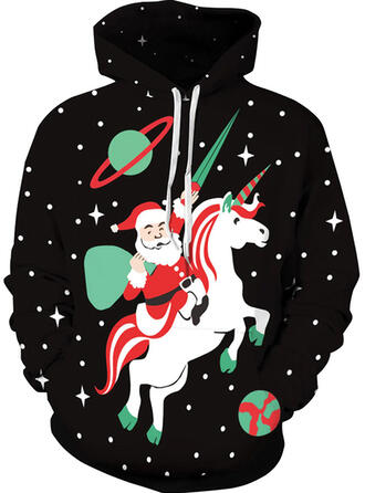 Unisex Cotton Blends Animal Print Santa Christmas Sweatshirt