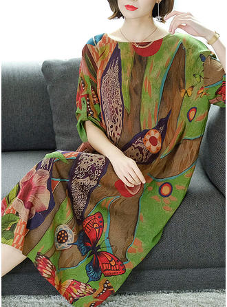 Imprimée/Fleurie Manches 3/4 Droite Midi Décontractée/Élégante Robes