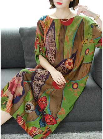 Print/Floral 3/4 Sleeves Shift Midi Casual/Elegant Dresses