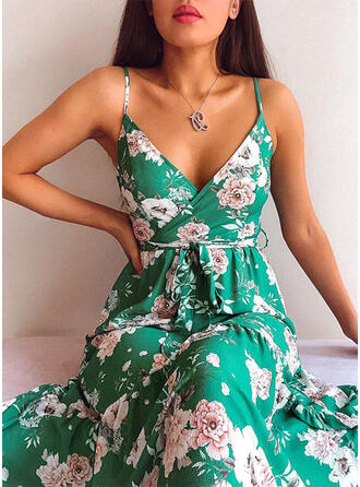 Print/Floral Sleeveless A-line Sexy/Casual Midi Dresses