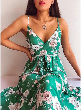 Nadrukowana/Kwiatowy Bez rękawów W kształcie litery A Seksowna/Casual Midi Sukienki