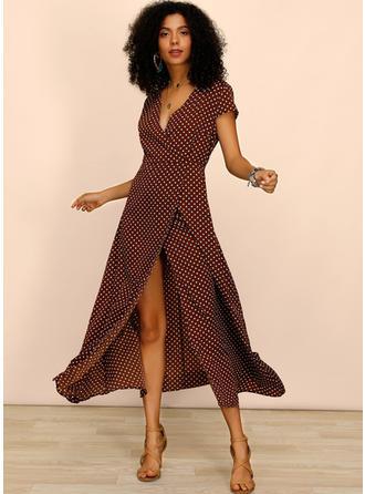 PolkaDot Short Sleeves A-line Maxi Casual/Vacation Dresses