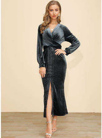 Solid Long Sleeves Sheath Midi Party/Elegant Dresses