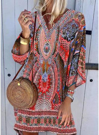 Print 3/4 Sleeves Shift Above Knee Casual/Boho/Vacation Dresses