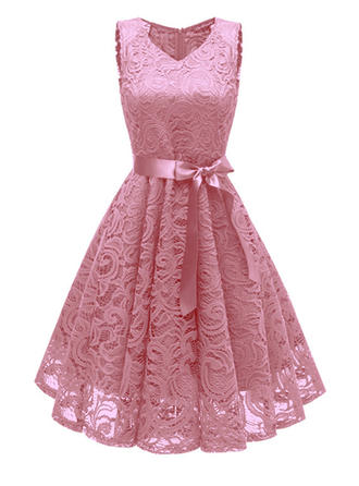 Lace With Bowknot Knee Length Dress