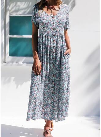 Imprimeu/Floral Mâneci Scurte Tip A-line Casual/Elegant Maxi Elbiseler