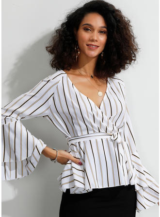 Striped V Neck Flare Sleeve Long Sleeves Casual Elegant Blouses