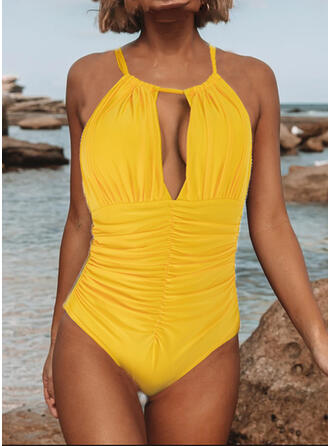Solid Color Halter High Neck Vintage Fresh Plus Size One-piece Swimsuits