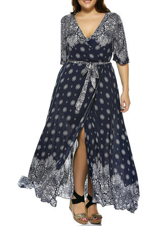 Print 1/2 Sleeves A-line Casual/Plus Size Maxi Dresses