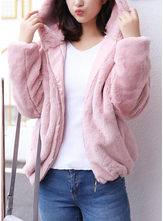 Faux Fur Long Sleeves Plain Blend Coats