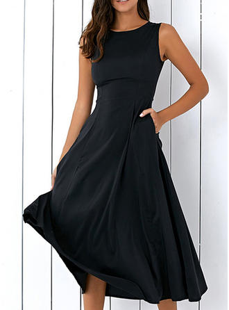Solid Sleeveless A-line Midi Vintage/Little Black/Party/Elegant Dresses
