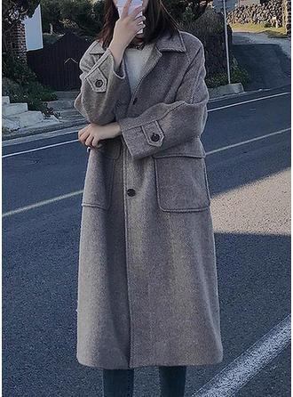 Wełniany Bawełna Długie rękawy Jednolity kolor Wełna Płaszcze