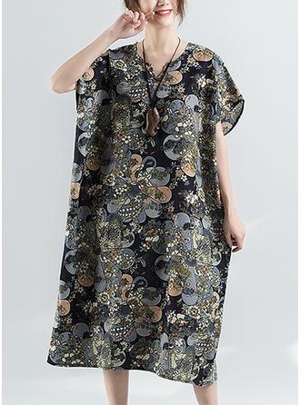Nadrukowana/Kwiatowy Krótkie rękawy Koktajlowa Midi Casual Sukienki