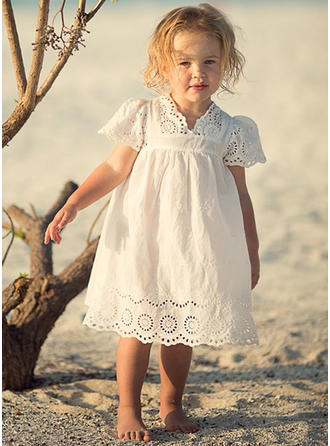 Girls V Neck Solid Lace Casual Cute Dress