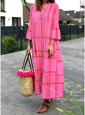 Jednolity Długie rękawy Rękawisko Suknie shift Nieformalny Maxi Sukienki