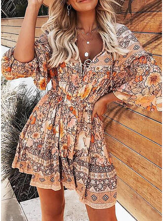 Print/Floral Long Sleeves/Lantern Sleeve A-line Above Knee Casual/Boho/Vacation Dresses