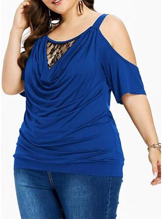 Solid Lace Cold Shoulder Short Sleeves Casual Elegant Plus Size Blouses