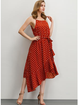 PolkaDot Sleeveless A-line Asymmetrical Casual/Vacation Dresses