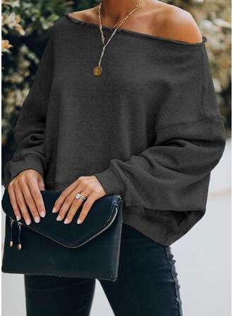 Solid One Shoulder Lange ærmer Sweatshirts