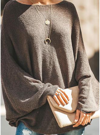 Sólido Cuello Redondo Suéteres