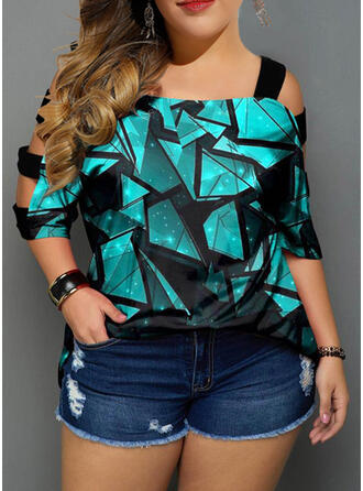 Print Cold Shoulder 3/4 Sleeves Plus Size Casual