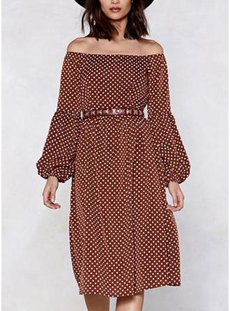 PolkaDot Long Sleeves/Puff Sleeves A-line Knee Length Casual/Elegant Dresses