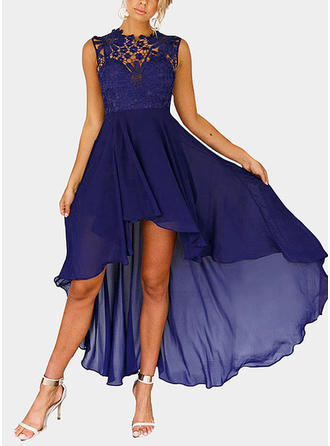 Lace Round Neck Asymmetrical A-line Dress