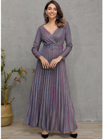 Sequins Long Sleeves A-line Midi Casual Dresses