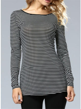 Striped Round Neck Long Sleeves Casual Sexy Blouses