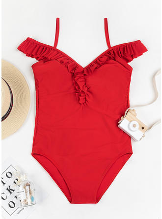 Solid Color Strap Elegant One-piece Swimsuits
