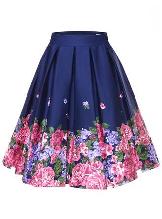 Bawełna Wydrukować Kwiatowy Kolano Długość Spódnice A-Line