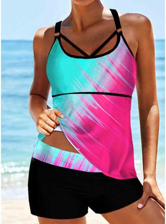 Splice color Strap U-Neck Sexy Boho Tankinis Swimsuits