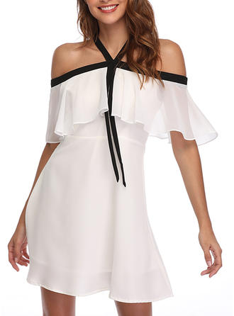 Solid Cold Shoulder Sleeve A-line Above Knee Casual Dresses