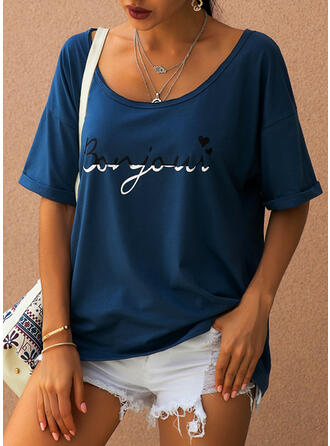 Print Heart Round Neck Short Sleeves Casual T-shirts