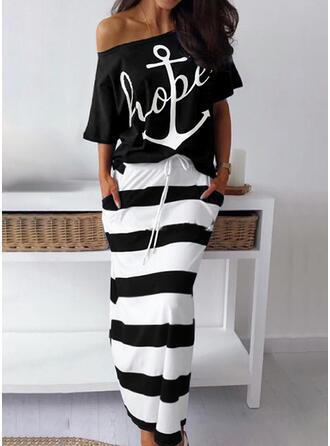 Off the Shoulder 3/4 Sleeves Color Block Brief Pajamas Sets