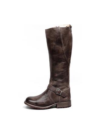 Femmes PU Talon bas Bottes hautes avec Boucle Zip chaussures