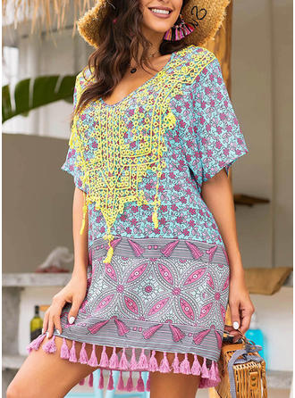 Floral V-neck Beautiful Bohemian Attractive Cute Swimdresses Swimsuits
