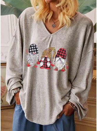 Drucken Leopard V-Ausschnitt Lange Ärmel Freizeit Weihnachten T-shirts