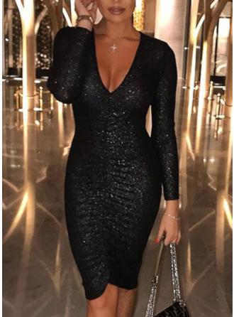 Sequins Long Sleeves Bodycon Knee Length Little Black/Party/Elegant Dresses