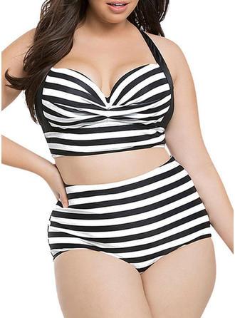 Sexy Stripe Polyester Tankinis