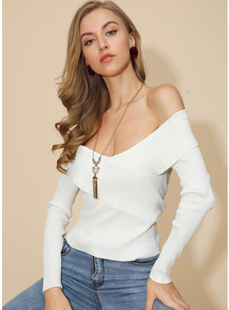 Solid Ribbed Off the Shoulder Sweaters