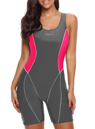 Splice color U Neck Sports One-piece Swimsuits