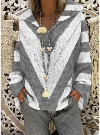 Color Block Striped Hooded Casual Sweaters